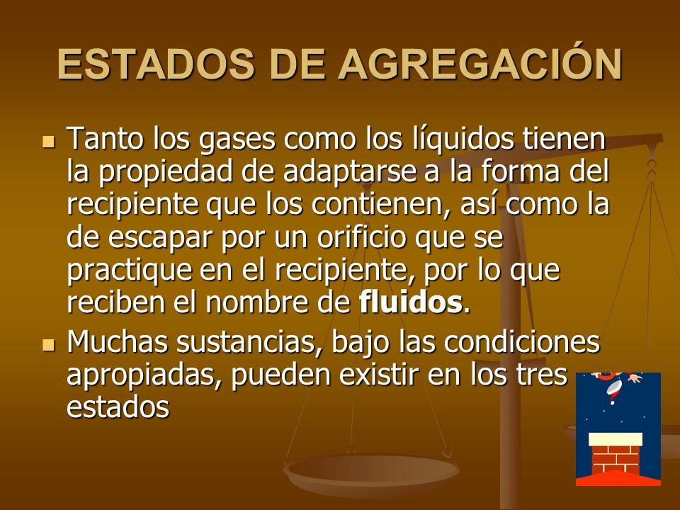 ESTADOS DE AGREGACIÓN Gases: Gases: Carecen de forma definida.