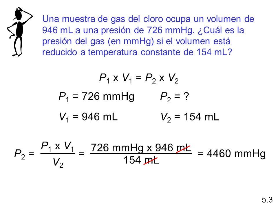 Una muestra de gas del cloro ocupa un volumen de 946 mL a una presión de 726 mmHg. ¿Cuál es la presión del gas (en mmHg) si el volumen está reducido a