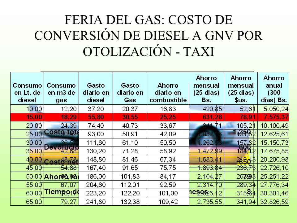 El programa de conversión de vehículos a gas natural es un proyecto fundamental en el inicio de las políticas que promueva el cambio en la matriz energética y el desarrollo del mercado local del gas natural a través de un incremento sostenido de la demanda de gas natural.