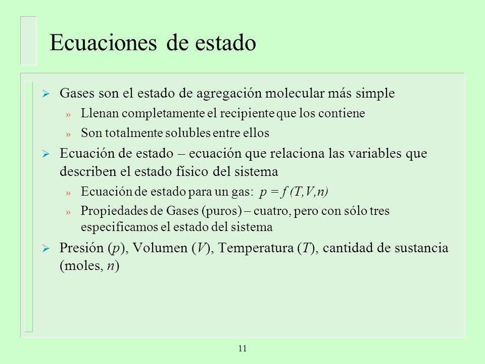 Ecuaciones de estado Gases son el estado de agregación molecular más simple » Llenan completamente el recipiente que los contiene » Son totalmente sol