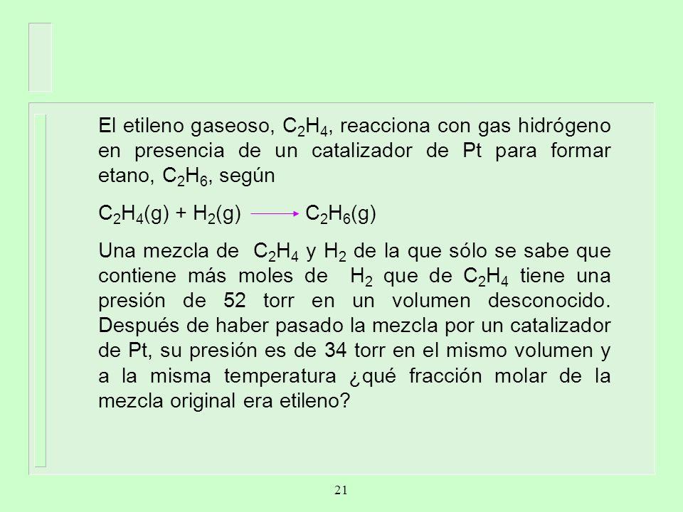 El etileno gaseoso, C 2 H 4, reacciona con gas hidrógeno en presencia de un catalizador de Pt para formar etano, C 2 H 6, según C 2 H 4 (g) + H 2 (g)