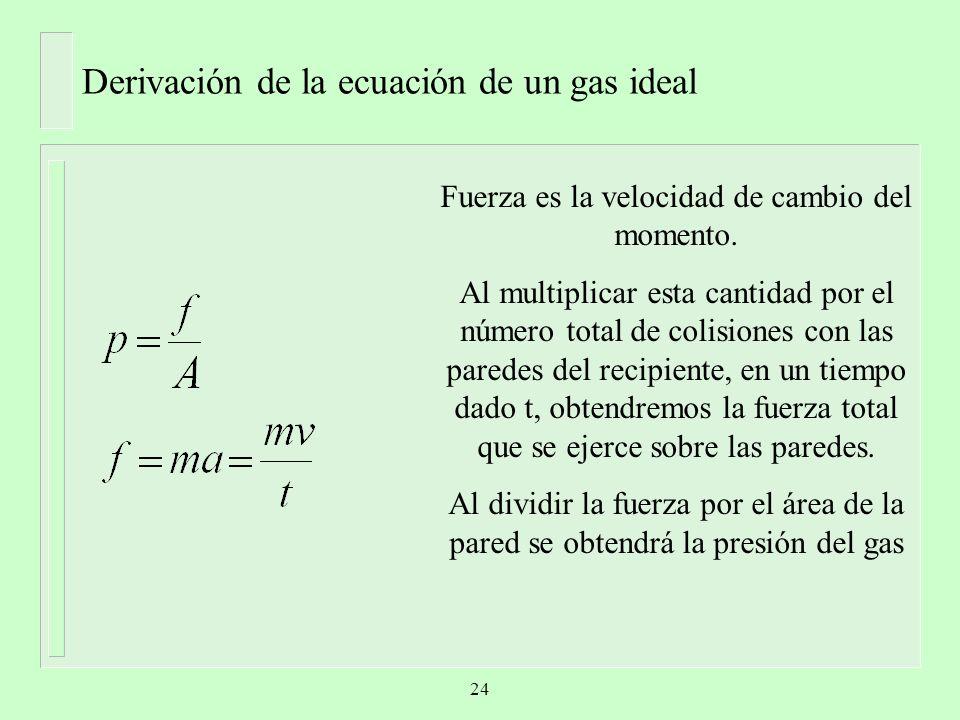 Derivación de la ecuación de un gas ideal Fuerza es la velocidad de cambio del momento. Al multiplicar esta cantidad por el número total de colisiones