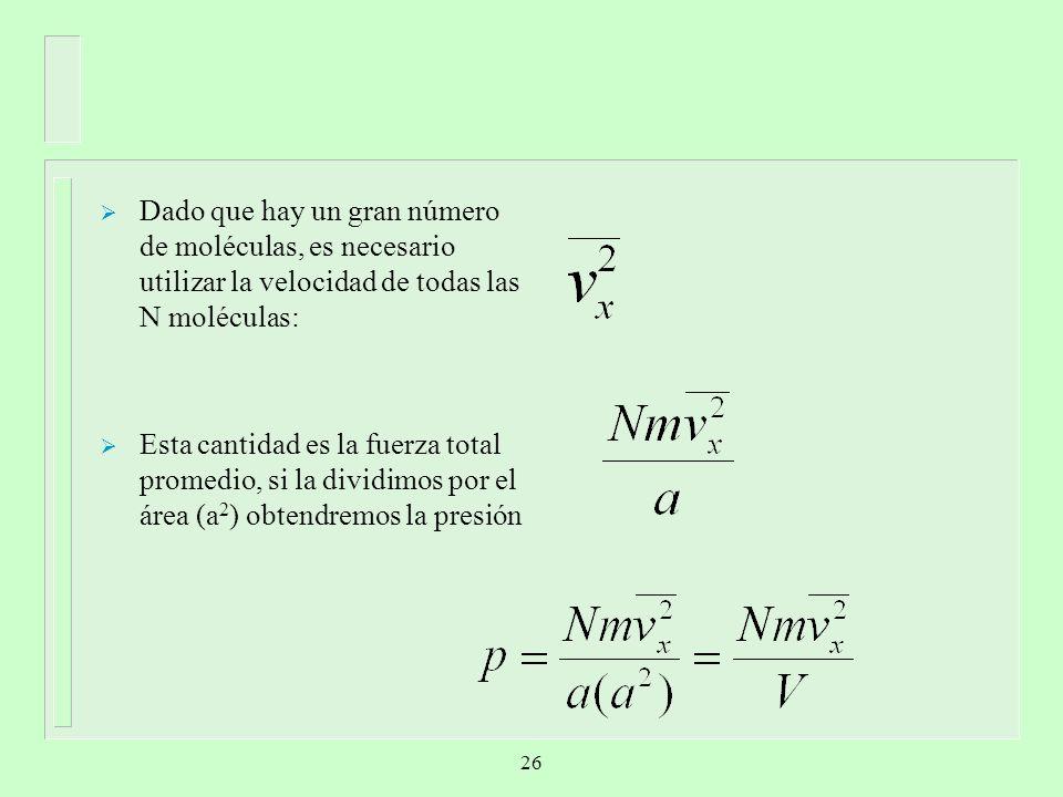 Dado que hay un gran número de moléculas, es necesario utilizar la velocidad de todas las N moléculas: Esta cantidad es la fuerza total promedio, si l