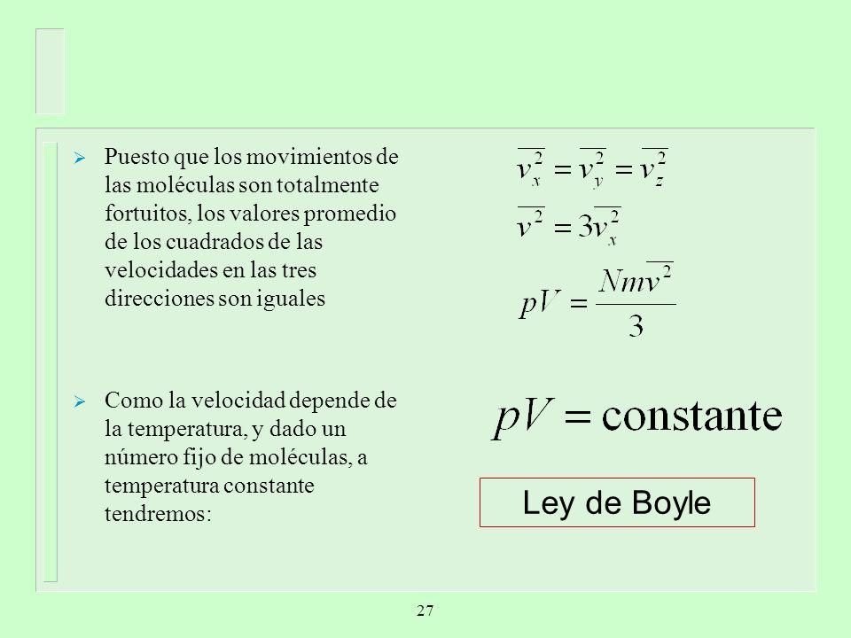 Puesto que los movimientos de las moléculas son totalmente fortuitos, los valores promedio de los cuadrados de las velocidades en las tres direcciones