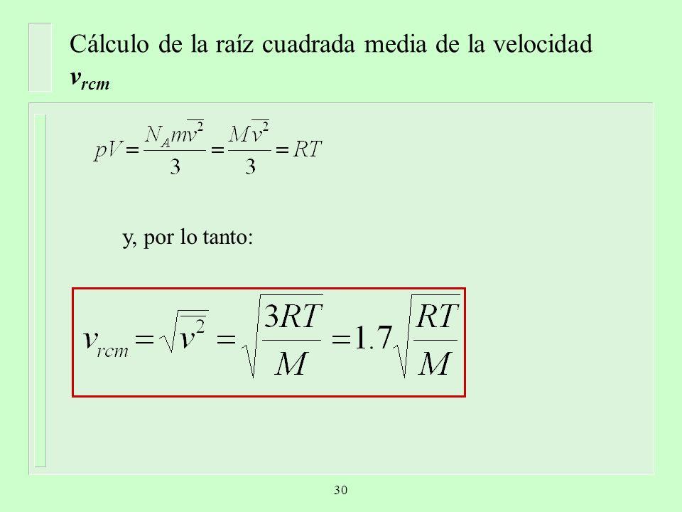 Cálculo de la raíz cuadrada media de la velocidad v rcm y, por lo tanto: 30