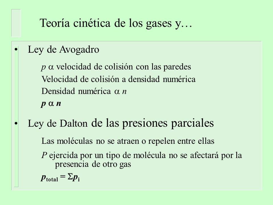 Teoría cinética de los gases y… Ley de Avogadro p velocidad de colisión con las paredes Velocidad de colisión a densidad numérica Densidad numérica n