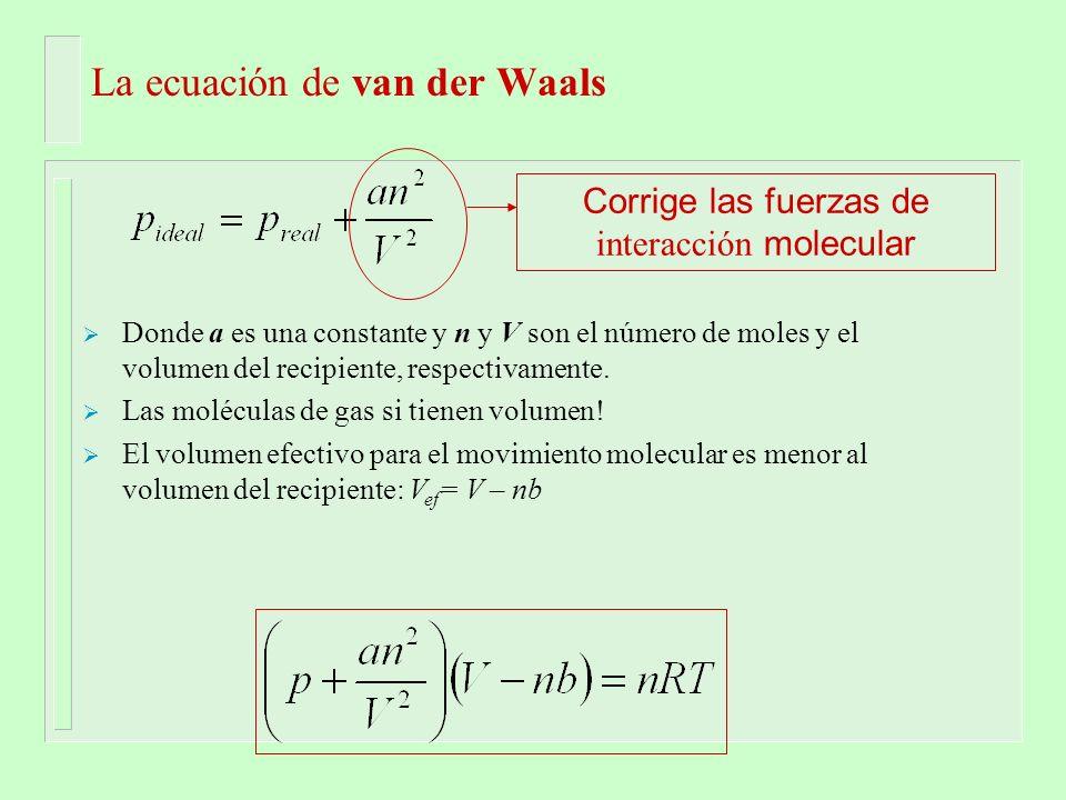 La ecuación de van der Waals Donde a es una constante y n y V son el número de moles y el volumen del recipiente, respectivamente. Las moléculas de ga