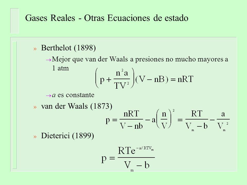 Gases Reales - Otras Ecuaciones de estado » Berthelot (1898) Mejor que van der Waals a presiones no mucho mayores a 1 atm a es constante » van der Waa