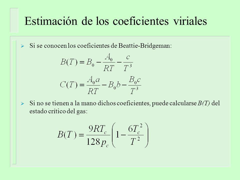 Estimación de los coeficientes viriales Si se conocen los coeficientes de Beattie-Bridgeman: Si no se tienen a la mano dichos coeficientes, puede calc