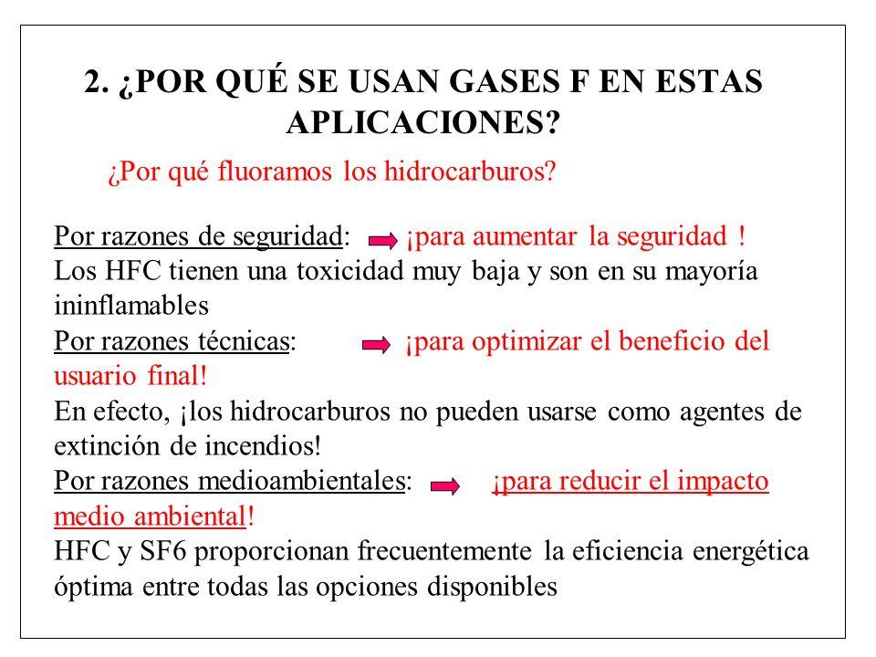 2.¿POR QUÉ SE USAN GASES F EN ESTAS APLICACIONES.