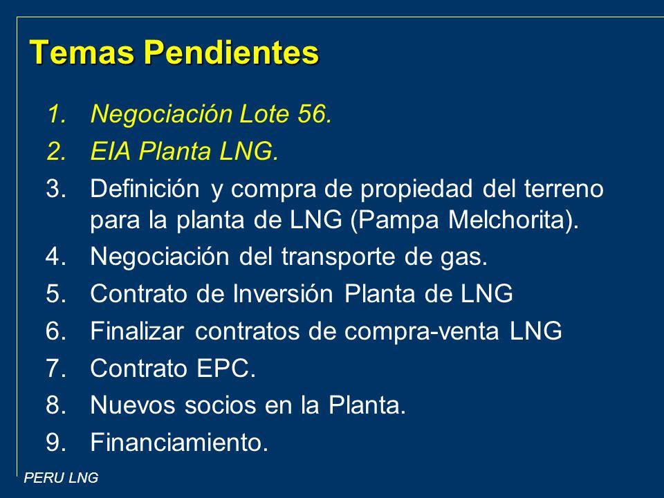 PERU LNG Temas Pendientes 1.Negociación Lote 56.2.EIA Planta LNG.
