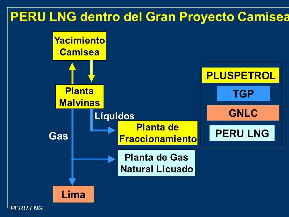 PERU LNG Yacimiento Camisea Planta de Fraccionamiento Planta de Gas Natural Licuado Lima Líquidos Gas PLUSPETROL TGP PERU LNG GNLC PERU LNG dentro del Gran Proyecto Camisea Planta Malvinas