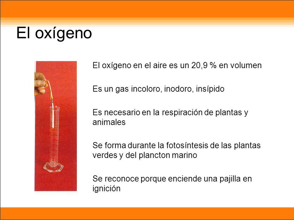 El oxígeno El oxígeno en el aire es un 20,9 % en volumen Es un gas incoloro, inodoro, insípido Es necesario en la respiración de plantas y animales Se