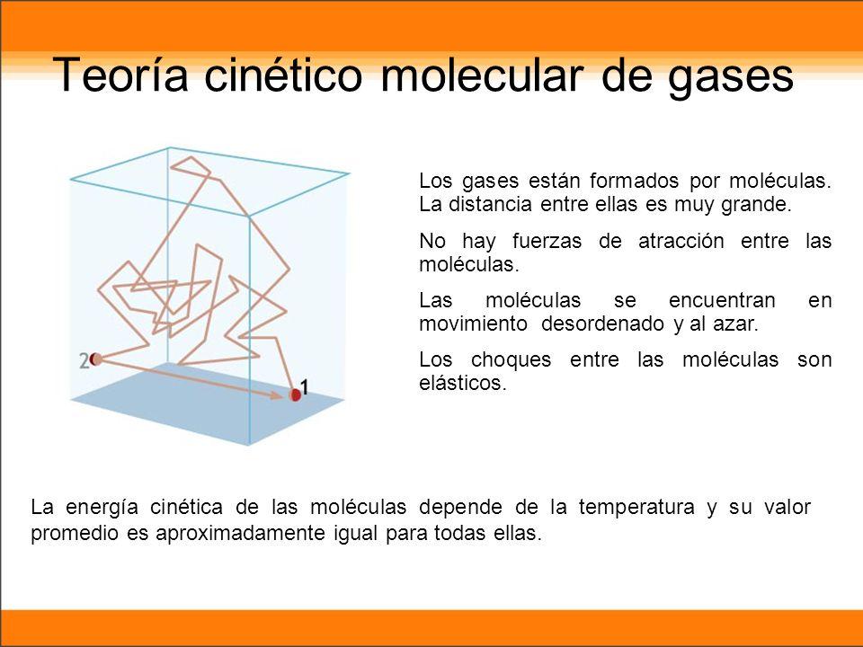 Los gases están formados por moléculas. La distancia entre ellas es muy grande. No hay fuerzas de atracción entre las moléculas. Las moléculas se encu