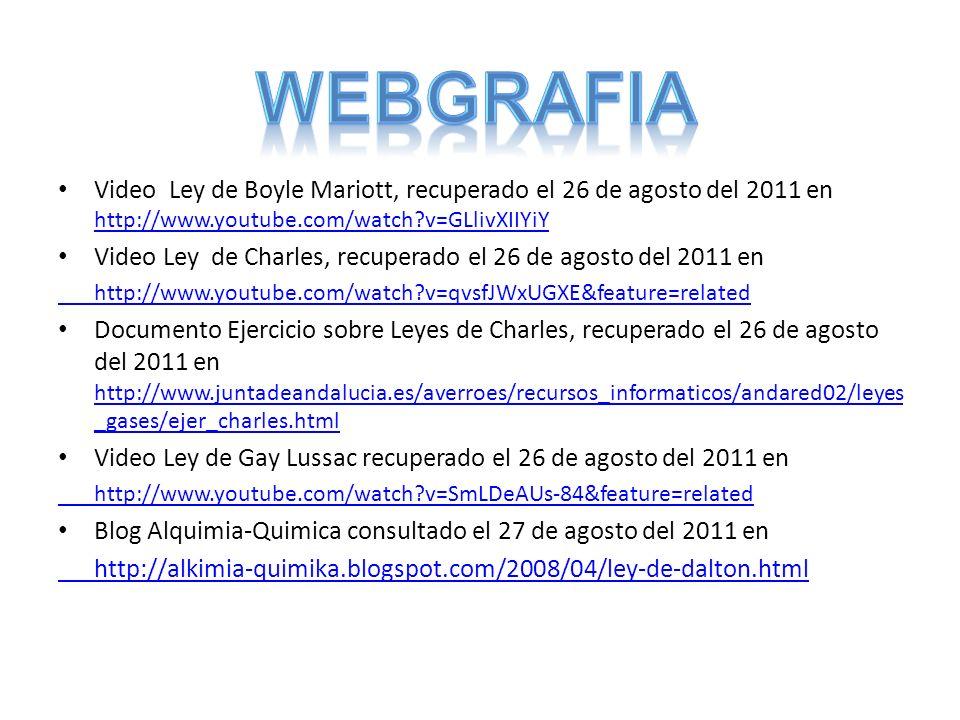Video Ley de Boyle Mariott, recuperado el 26 de agosto del 2011 en http://www.youtube.com/watch?v=GLlivXIIYiY http://www.youtube.com/watch?v=GLlivXIIY