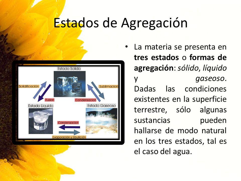 Estados de Agregación La materia se presenta en tres estados o formas de agregación: sólido, líquido y gaseoso. Dadas las condiciones existentes en la