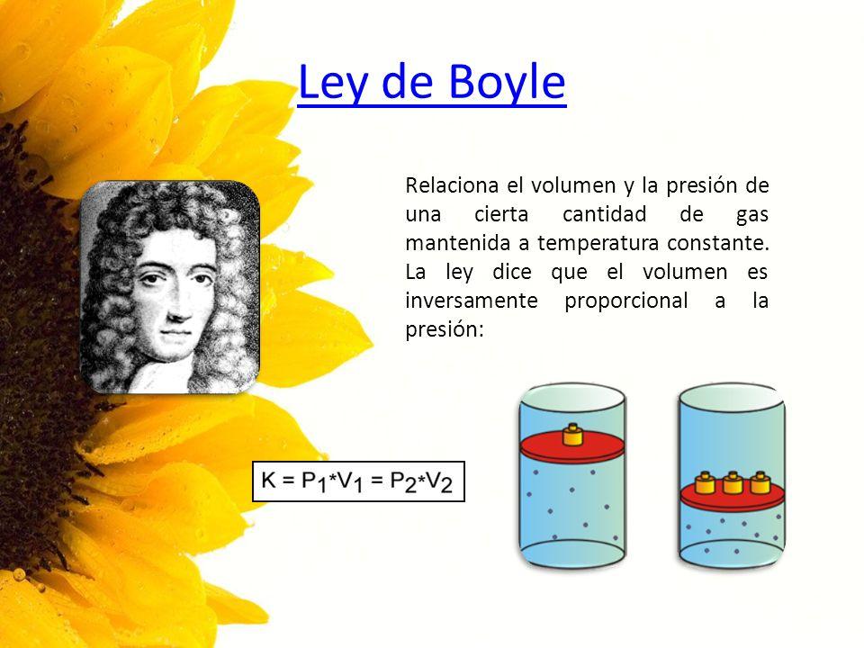 Ley de Boyle Relaciona el volumen y la presión de una cierta cantidad de gas mantenida a temperatura constante. La ley dice que el volumen es inversam