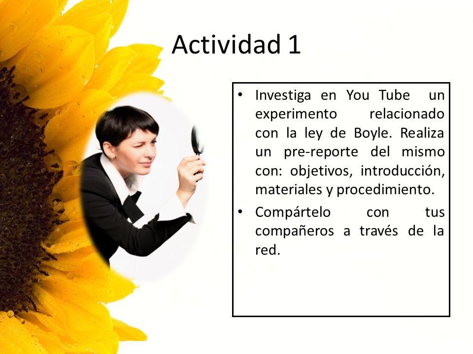 Actividad 1 Investiga en You Tube un experimento relacionado con la ley de Boyle. Realiza un pre-reporte del mismo con: objetivos, introducción, mater