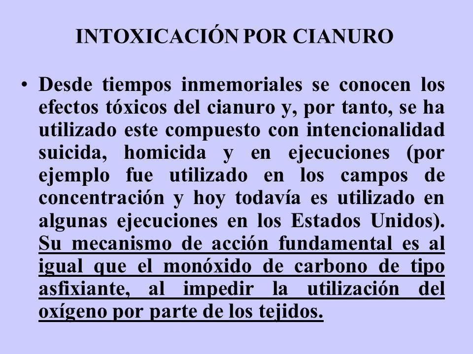 INTOXICACIÓN POR CIANURO Desde tiempos inmemoriales se conocen los efectos tóxicos del cianuro y, por tanto, se ha utilizado este compuesto con intenc