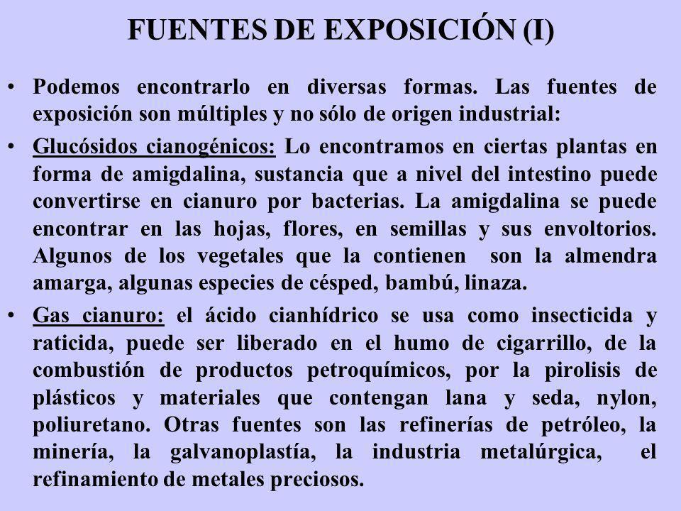 FUENTES DE EXPOSICIÓN (I) Podemos encontrarlo en diversas formas. Las fuentes de exposición son múltiples y no sólo de origen industrial: Glucósidos c