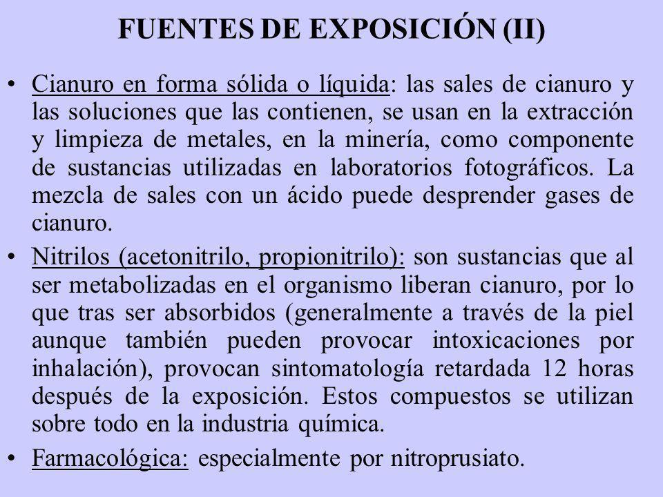 FUENTES DE EXPOSICIÓN (II) Cianuro en forma sólida o líquida: las sales de cianuro y las soluciones que las contienen, se usan en la extracción y limp
