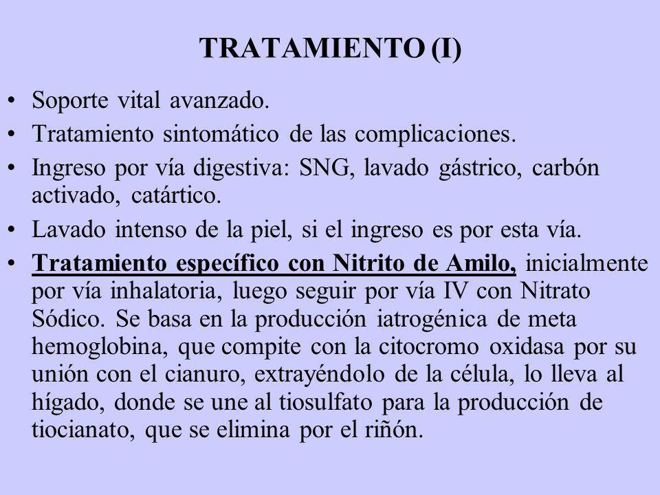 TRATAMIENTO (I) Soporte vital avanzado. Tratamiento sintomático de las complicaciones. Ingreso por vía digestiva: SNG, lavado gástrico, carbón activad