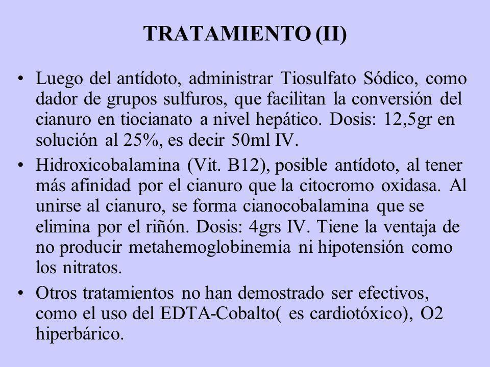 TRATAMIENTO (II) Luego del antídoto, administrar Tiosulfato Sódico, como dador de grupos sulfuros, que facilitan la conversión del cianuro en tiociana