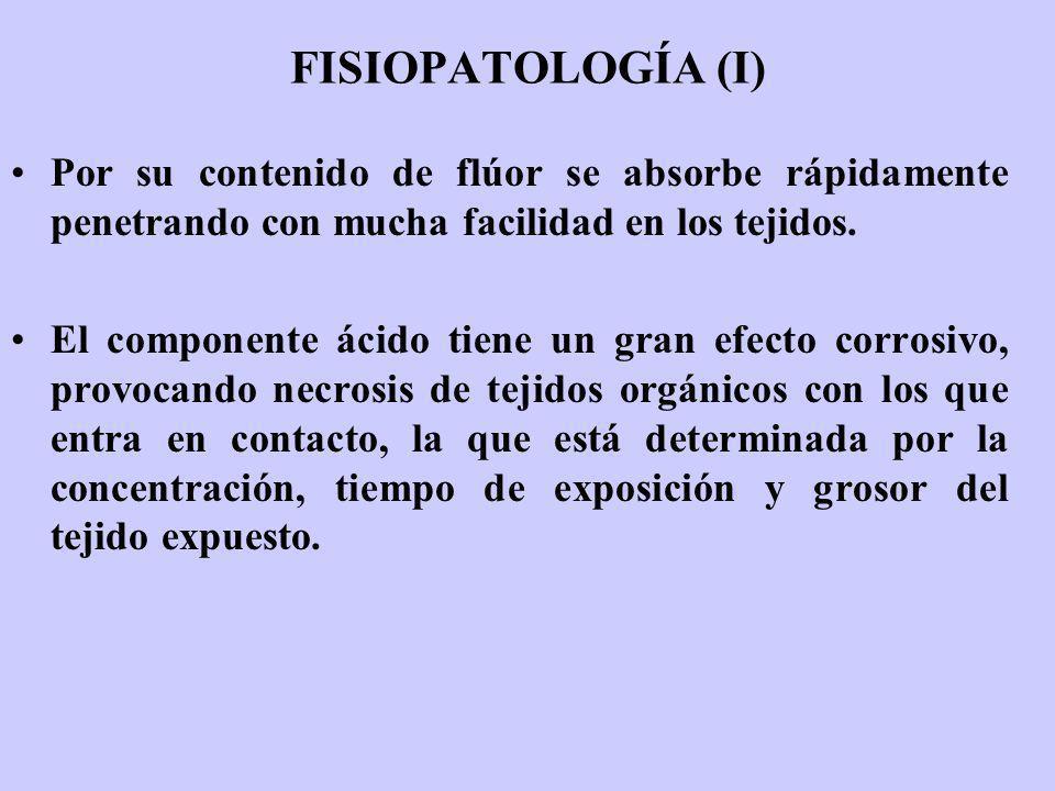 FISIOPATOLOGÍA (I) Por su contenido de flúor se absorbe rápidamente penetrando con mucha facilidad en los tejidos. El componente ácido tiene un gran e