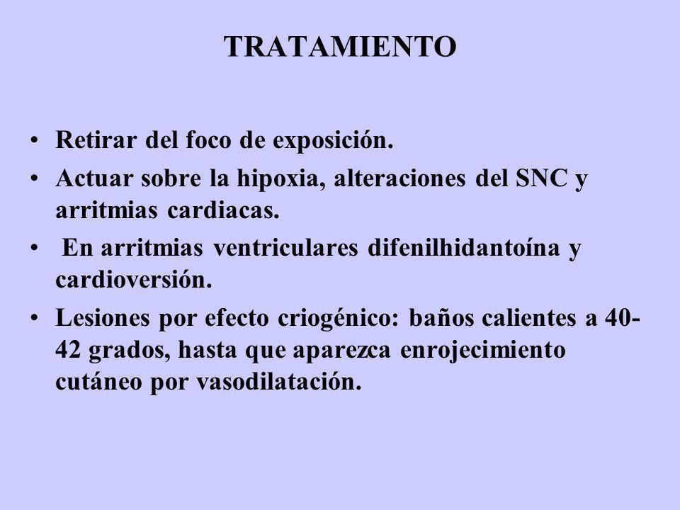TRATAMIENTO Retirar del foco de exposición. Actuar sobre la hipoxia, alteraciones del SNC y arritmias cardiacas. En arritmias ventriculares difenilhid