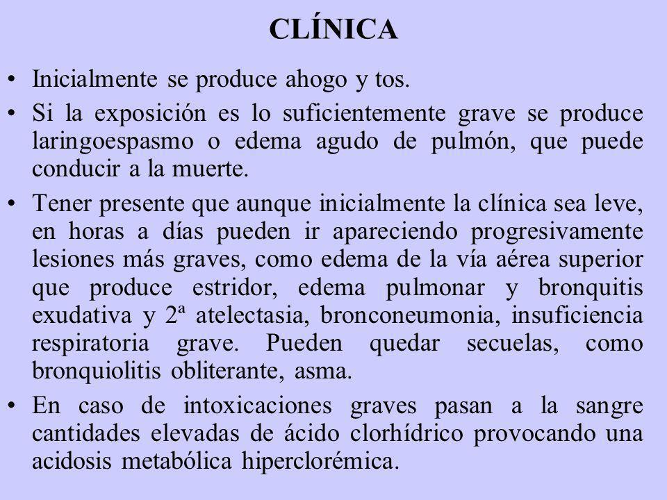 CLÍNICA Inicialmente se produce ahogo y tos. Si la exposición es lo suficientemente grave se produce laringoespasmo o edema agudo de pulmón, que puede
