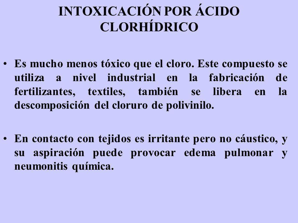 INTOXICACIÓN POR ÁCIDO CLORHÍDRICO Es mucho menos tóxico que el cloro. Este compuesto se utiliza a nivel industrial en la fabricación de fertilizantes