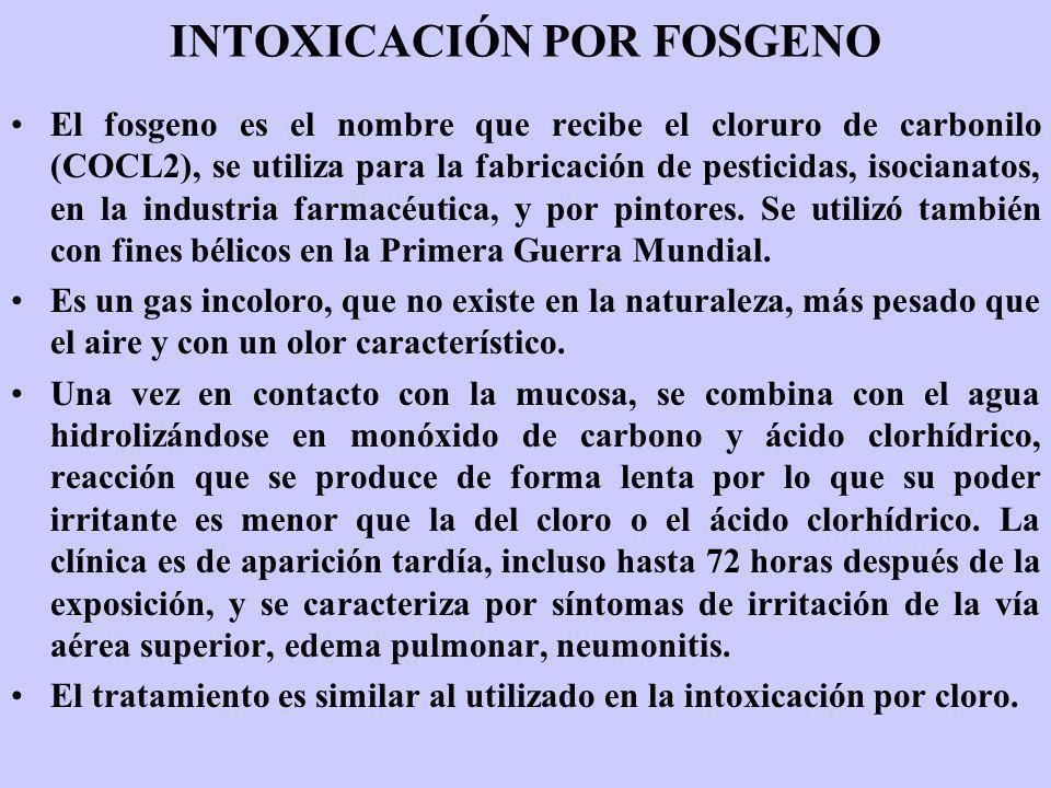 INTOXICACIÓN POR FOSGENO El fosgeno es el nombre que recibe el cloruro de carbonilo (COCL2), se utiliza para la fabricación de pesticidas, isocianatos