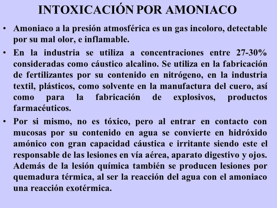 INTOXICACIÓN POR AMONIACO Amoniaco a la presión atmosférica es un gas incoloro, detectable por su mal olor, e inflamable. En la industria se utiliza a