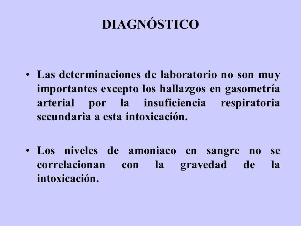 DIAGNÓSTICO Las determinaciones de laboratorio no son muy importantes excepto los hallazgos en gasometría arterial por la insuficiencia respiratoria s