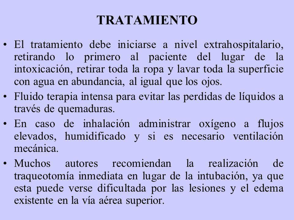 TRATAMIENTO El tratamiento debe iniciarse a nivel extrahospitalario, retirando lo primero al paciente del lugar de la intoxicación, retirar toda la ro
