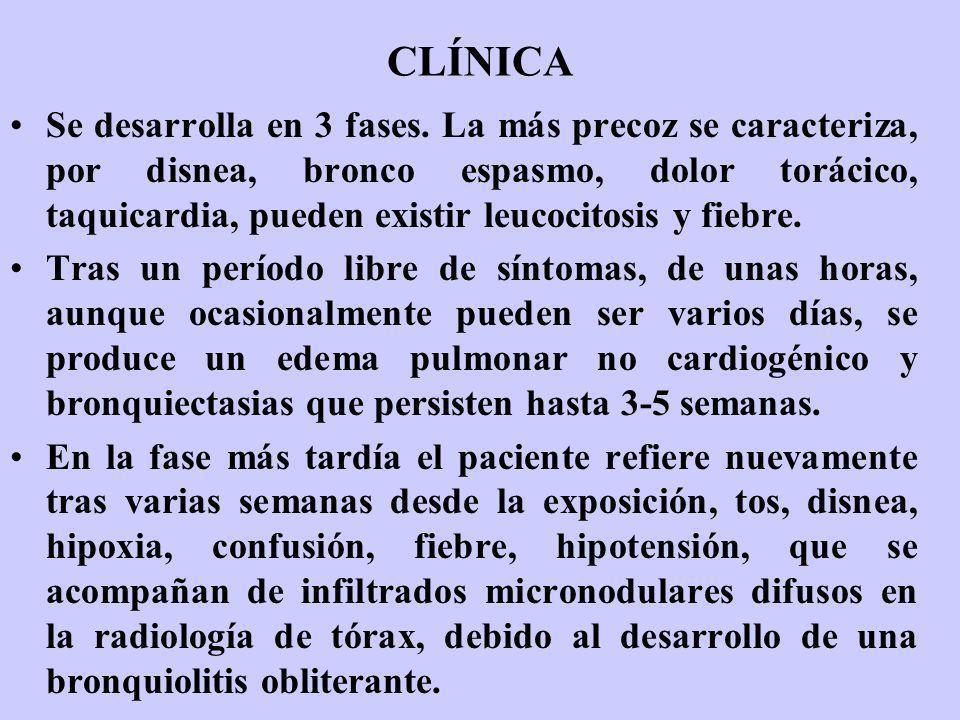 CLÍNICA Se desarrolla en 3 fases. La más precoz se caracteriza, por disnea, bronco espasmo, dolor torácico, taquicardia, pueden existir leucocitosis y