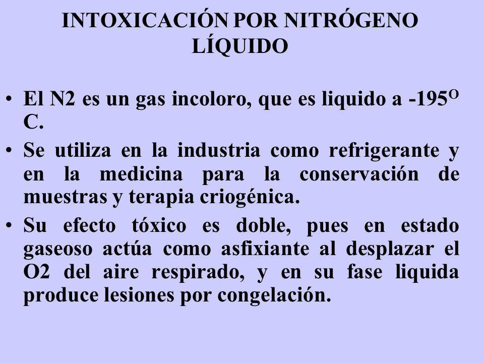 INTOXICACIÓN POR NITRÓGENO LÍQUIDO El N2 es un gas incoloro, que es liquido a -195 O C. Se utiliza en la industria como refrigerante y en la medicina