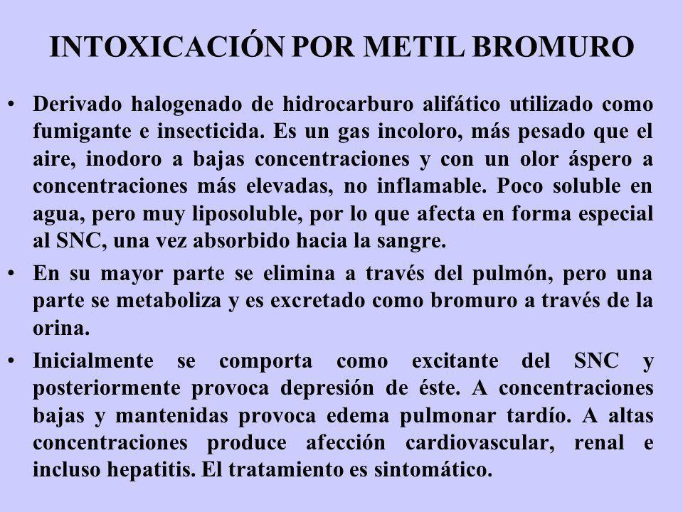INTOXICACIÓN POR METIL BROMURO Derivado halogenado de hidrocarburo alifático utilizado como fumigante e insecticida. Es un gas incoloro, más pesado qu