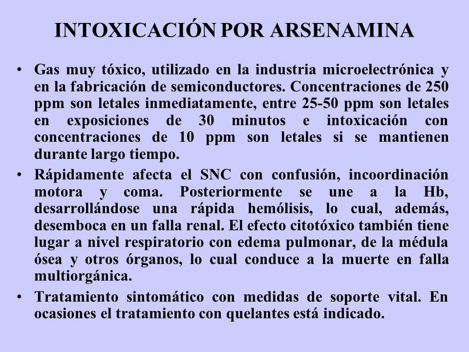 INTOXICACIÓN POR ARSENAMINA Gas muy tóxico, utilizado en la industria microelectrónica y en la fabricación de semiconductores. Concentraciones de 250