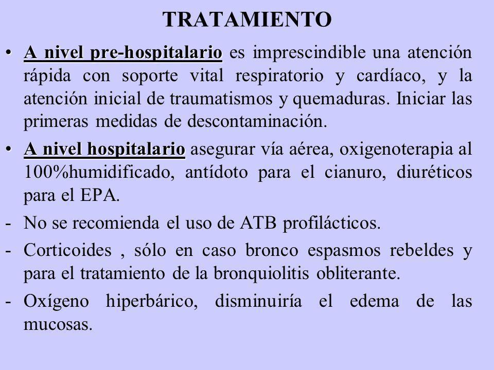 TRATAMIENTO A nivel pre-hospitalarioA nivel pre-hospitalario es imprescindible una atención rápida con soporte vital respiratorio y cardíaco, y la ate