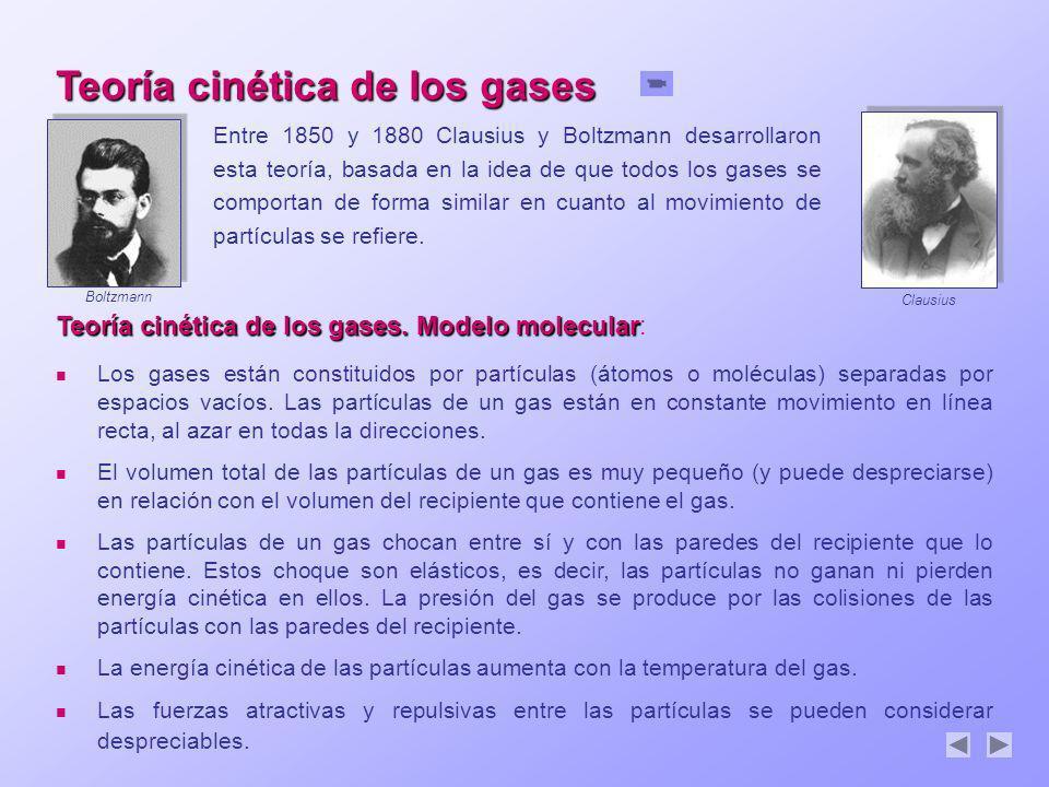 Teoría cinética de los gases. Modelo molecular Teoría cinética de los gases. Modelo molecular: Los gases están constituidos por partículas (átomos o m