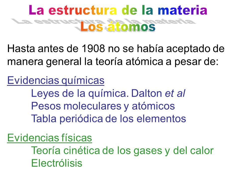 Hasta antes de 1908 no se había aceptado de manera general la teoría atómica a pesar de: Evidencias químicas Leyes de la química. Dalton et al Pesos m
