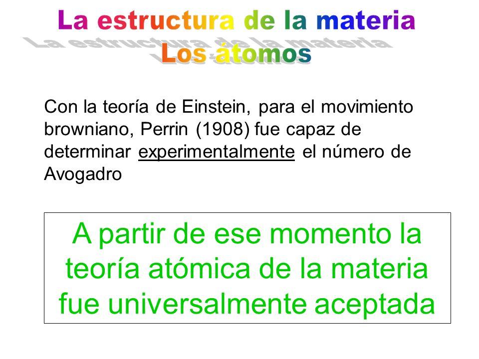 Con la teoría de Einstein, para el movimiento browniano, Perrin (1908) fue capaz de determinar experimentalmente el número de Avogadro A partir de ese