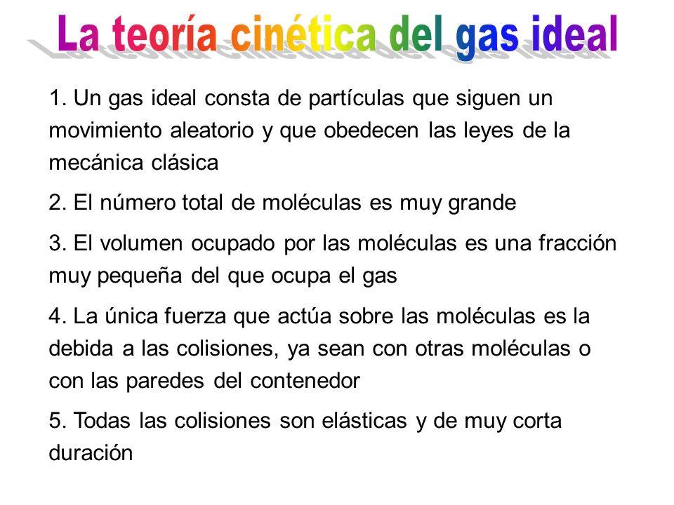 1. Un gas ideal consta de partículas que siguen un movimiento aleatorio y que obedecen las leyes de la mecánica clásica 2. El número total de molécula