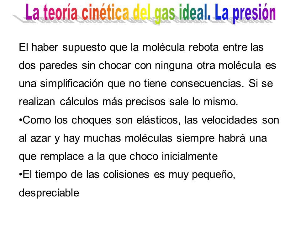 El haber supuesto que la molécula rebota entre las dos paredes sin chocar con ninguna otra molécula es una simplificación que no tiene consecuencias.