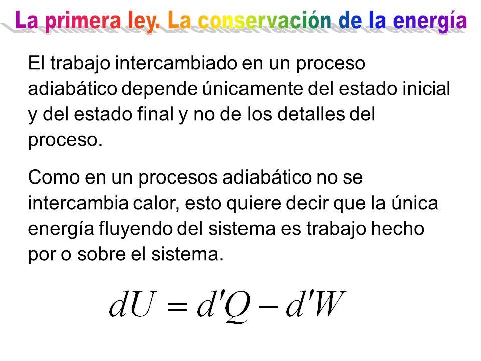 El trabajo intercambiado en un proceso adiabático depende únicamente del estado inicial y del estado final y no de los detalles del proceso. Como en u