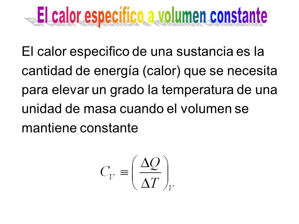 El calor especifico de una sustancia es la cantidad de energía (calor) que se necesita para elevar un grado la temperatura de una unidad de masa cuando la presión se mantiene constante