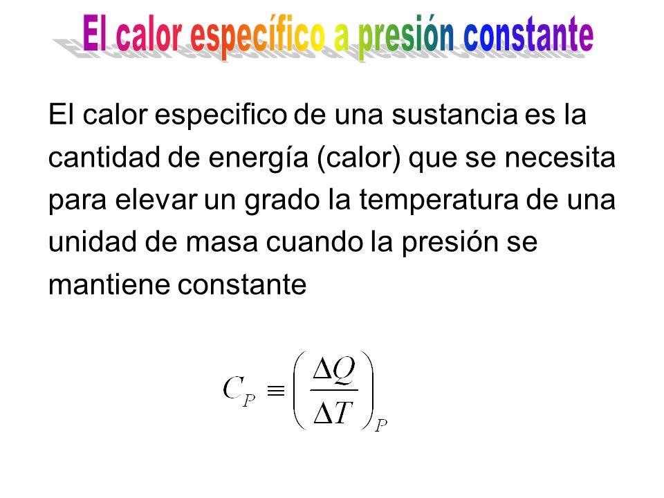 El calor especifico de una sustancia es la cantidad de energía (calor) que se necesita para elevar un grado la temperatura de una unidad de masa cuand