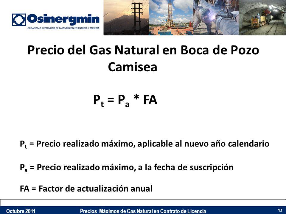 Precio del Gas Natural en Boca de Pozo Camisea P a = Precio realizado máximo, a la fecha de suscripción FA = Factor de actualización anual P t = Preci