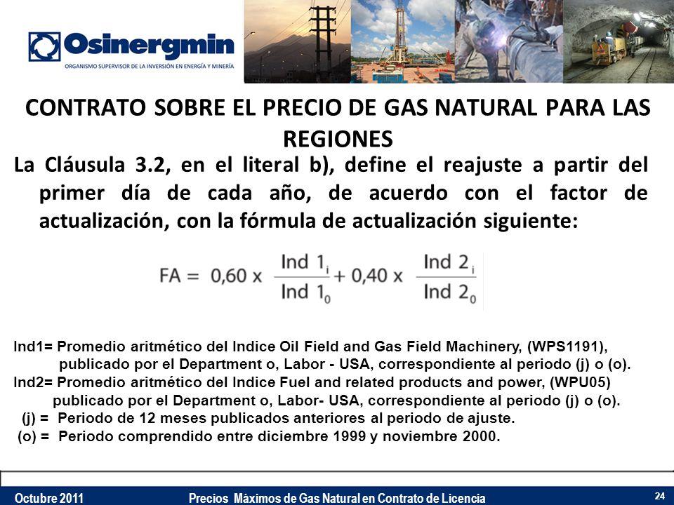 CONTRATO SOBRE EL PRECIO DE GAS NATURAL PARA LAS REGIONES La Cláusula 3.2, en el literal b), define el reajuste a partir del primer día de cada año, d